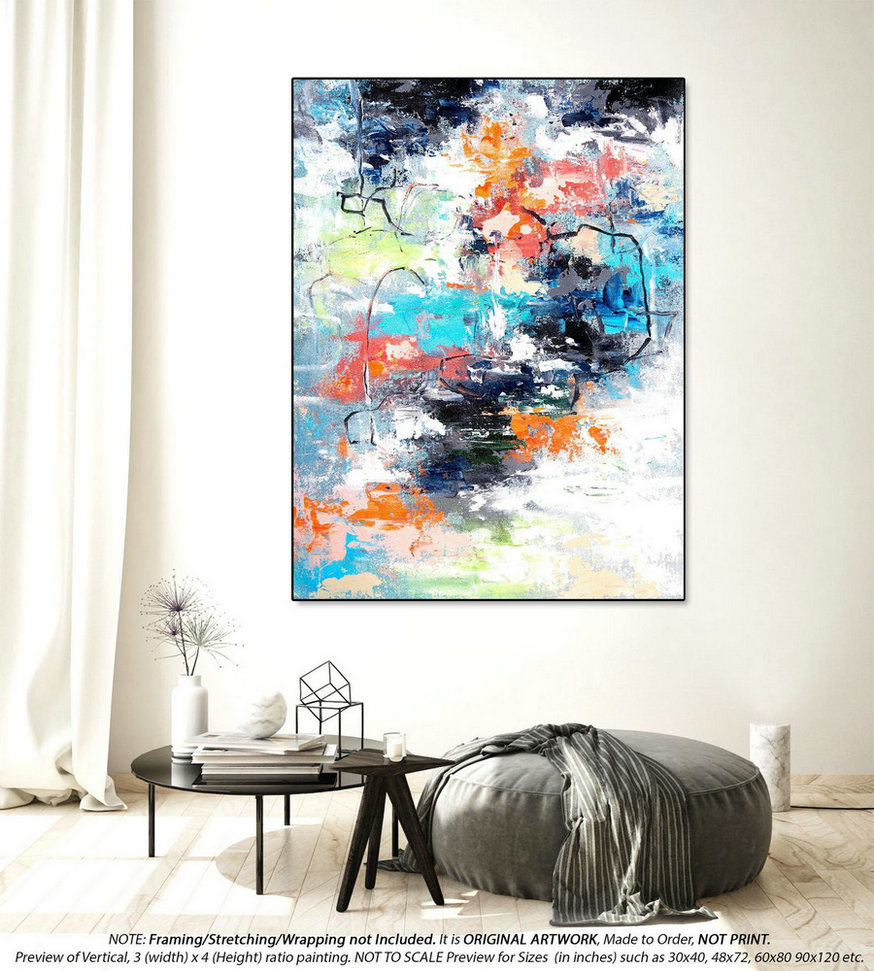 Extra Large Abstract Painting Original Paintings - Abstract Painting on Canvas, Canvas Wall Art, Original Acrylic Abstract PaintingYNS113