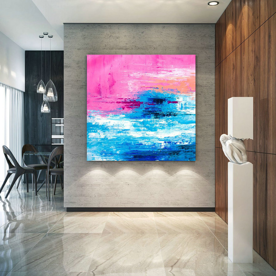 Large Abstract Painting, Original Canvas Art, Contemporary Wall Art, Modern Artwork, Office Wall art, Extra Large Canvas Colorful lac692