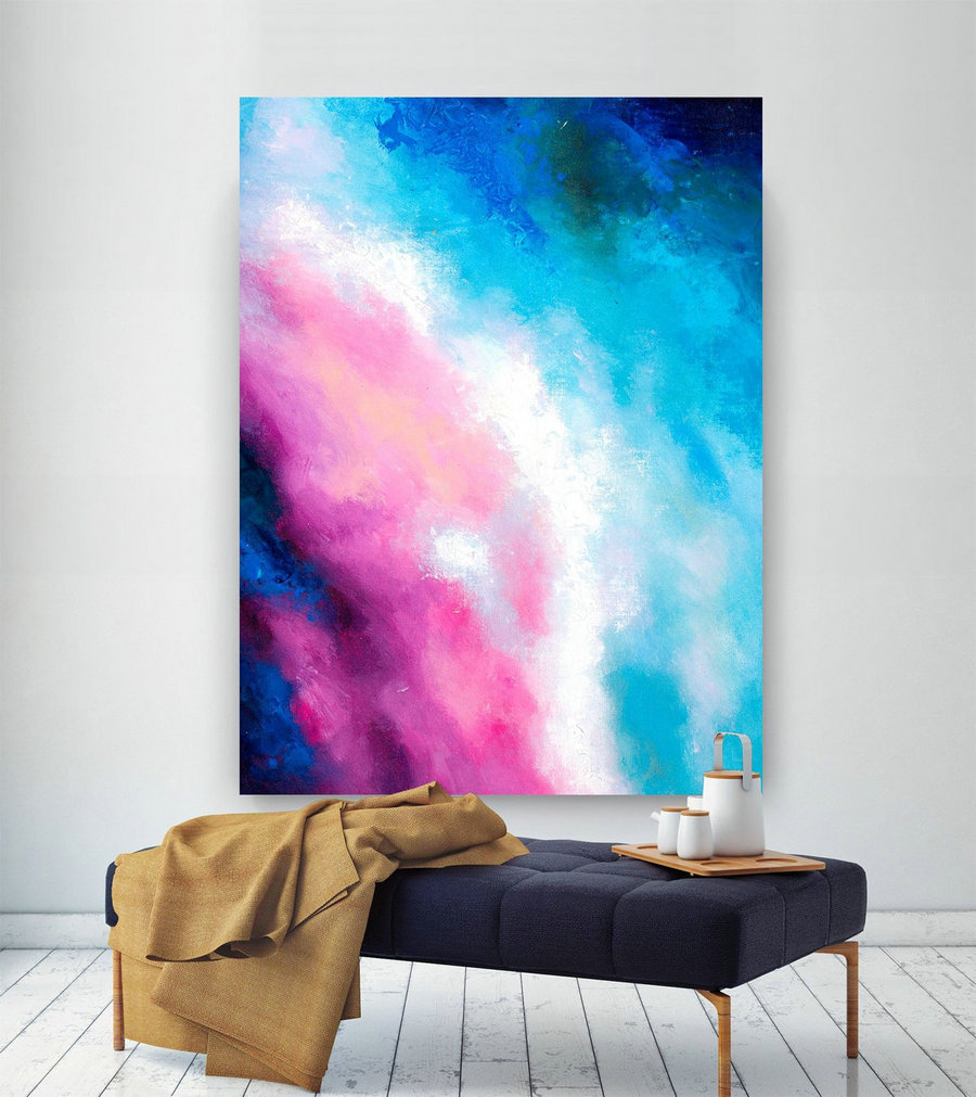 Pink Blue Extra Large Wall Art, Abstract Painting on Canvas Modern Home Decor Office Home Artwork Large Original Contemporary art XL lac694