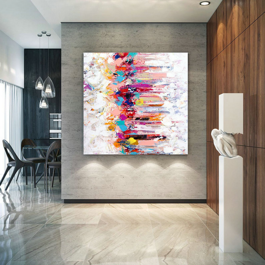 Extra Large Wall Art Original Painting on Canvas Contemporary Wallart Modern Abstract Living Room Wall ArtColorful Abstract Painting lac635