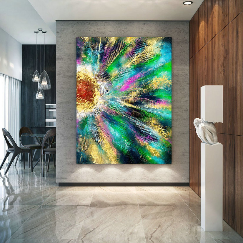 Extra Large Wall Art Original Painting on Canvas Contemporary Wallart Modern Abstract Living Room Wall ArtColorful Abstract Painting lac653