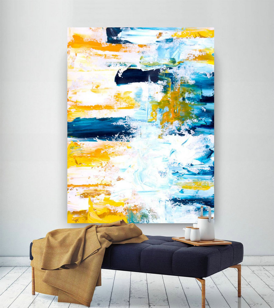Extra Large Wall Art Original Handpainted Contemporary XL Abstract Painting Horizontal Vertical Huge Size Art Bright and Colorful lac708