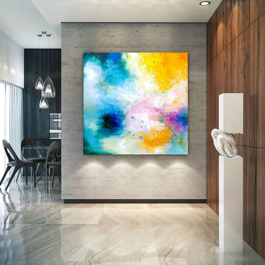 Large Abstract Painting, Original Canvas Art, Contemporary Wall Art, Modern Artwork, Office Wall art, Extra Large Canvas Colorful lac689