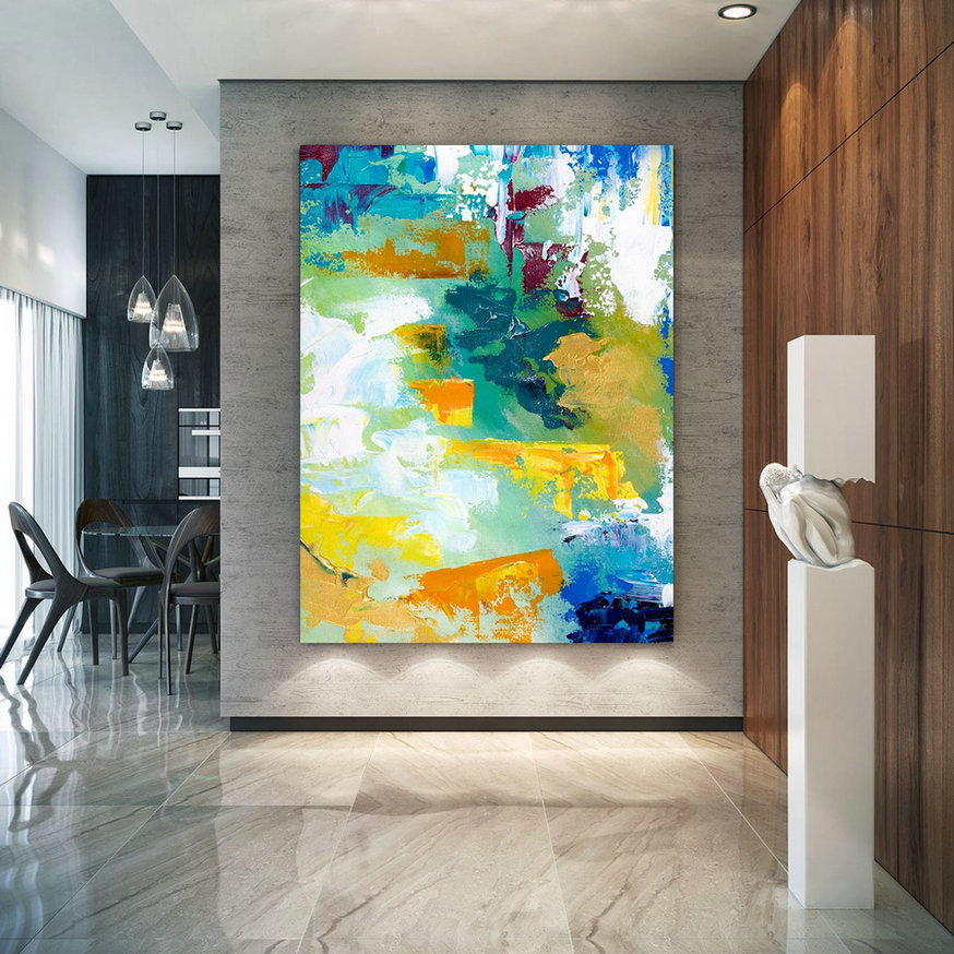 Extra Large Wall Art Original Handpainted Contemporary XL Abstract Painting Horizontal Vertical Huge Size Art Bright and Colorful lac711