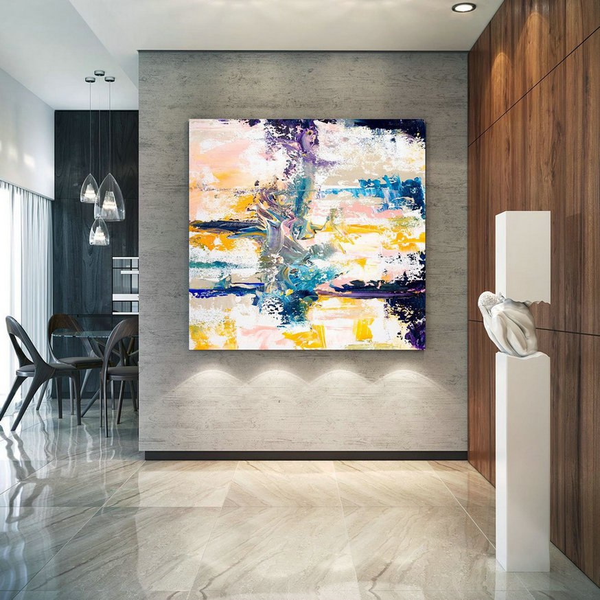 Extra Large Wall Art Original Handpainted Contemporary XL Abstract Painting Horizontal Vertical Huge Size Art Bright and Colorful lac709