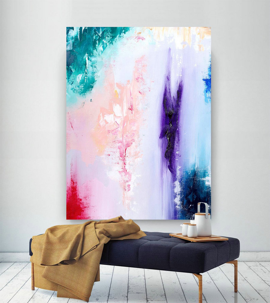 Extra Large Wall Art Original Handpainted Contemporary XL Abstract Painting Horizontal Vertical Huge Size Art Bright and Colorful lac706