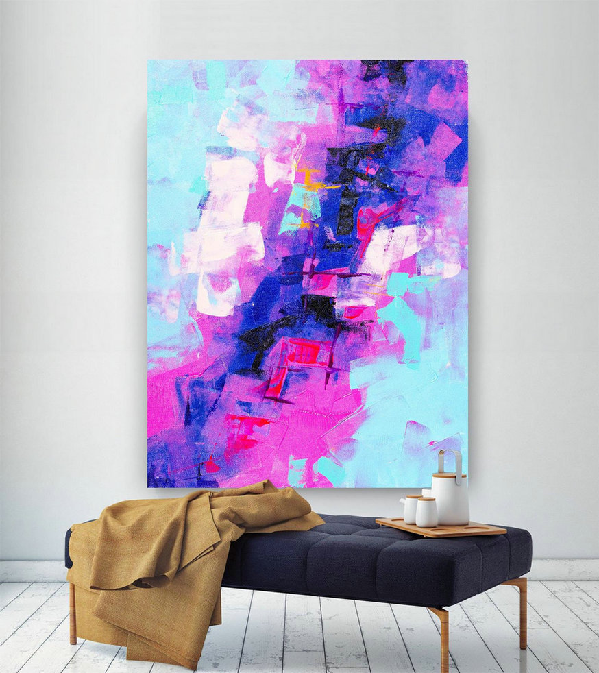 Extra Large Wall Art Original Painting on Canvas Contemporary Wallart Modern Abstract Living Room Wall ArtColorful Abstract Painting lac649