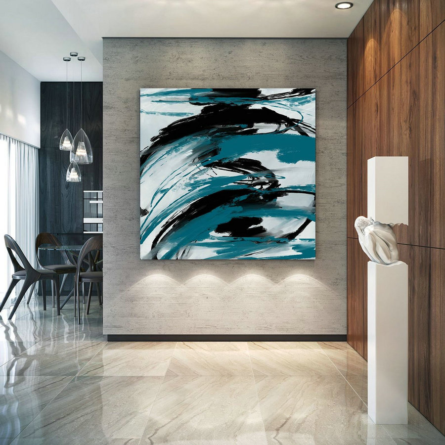 Turquoise Black Textured Modern Art Large Original Painting,Painting on Canvas Modern Wall Decor Contemporary Art, Abstract Painting Pac429