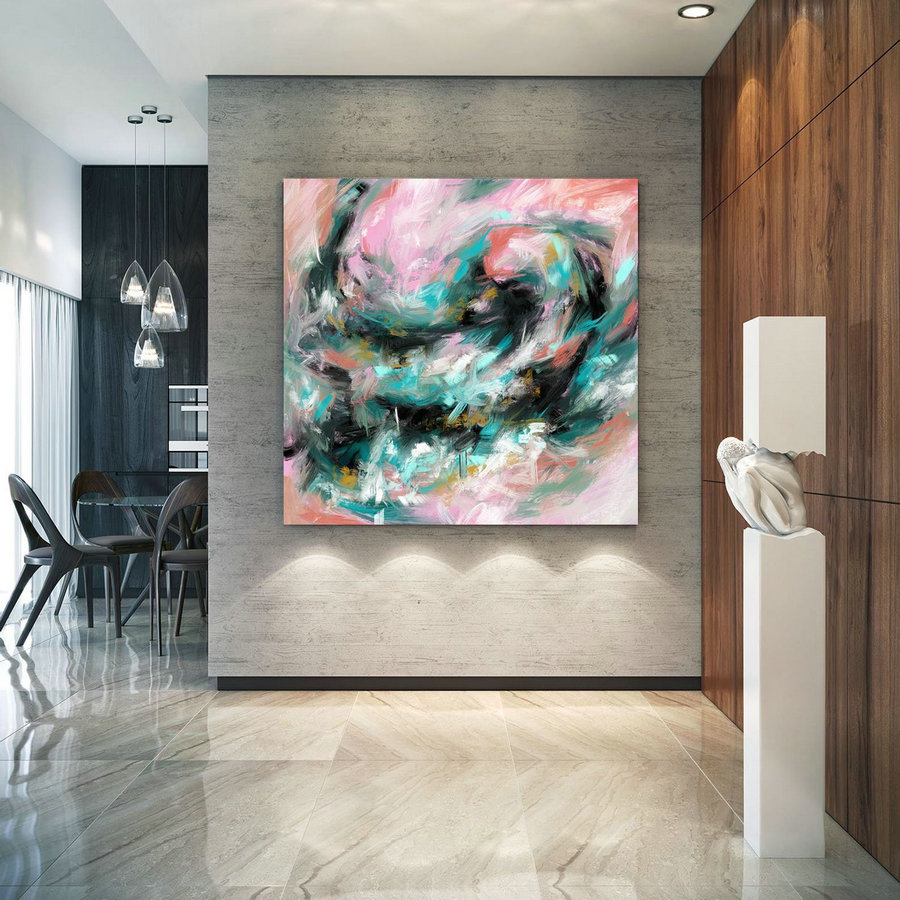 Modern Blush Pink Mint Extra Large Wall Art Abstract Painting Decor Original Painting on Canvas Modern Wall Decor Contemporary Art Pac408