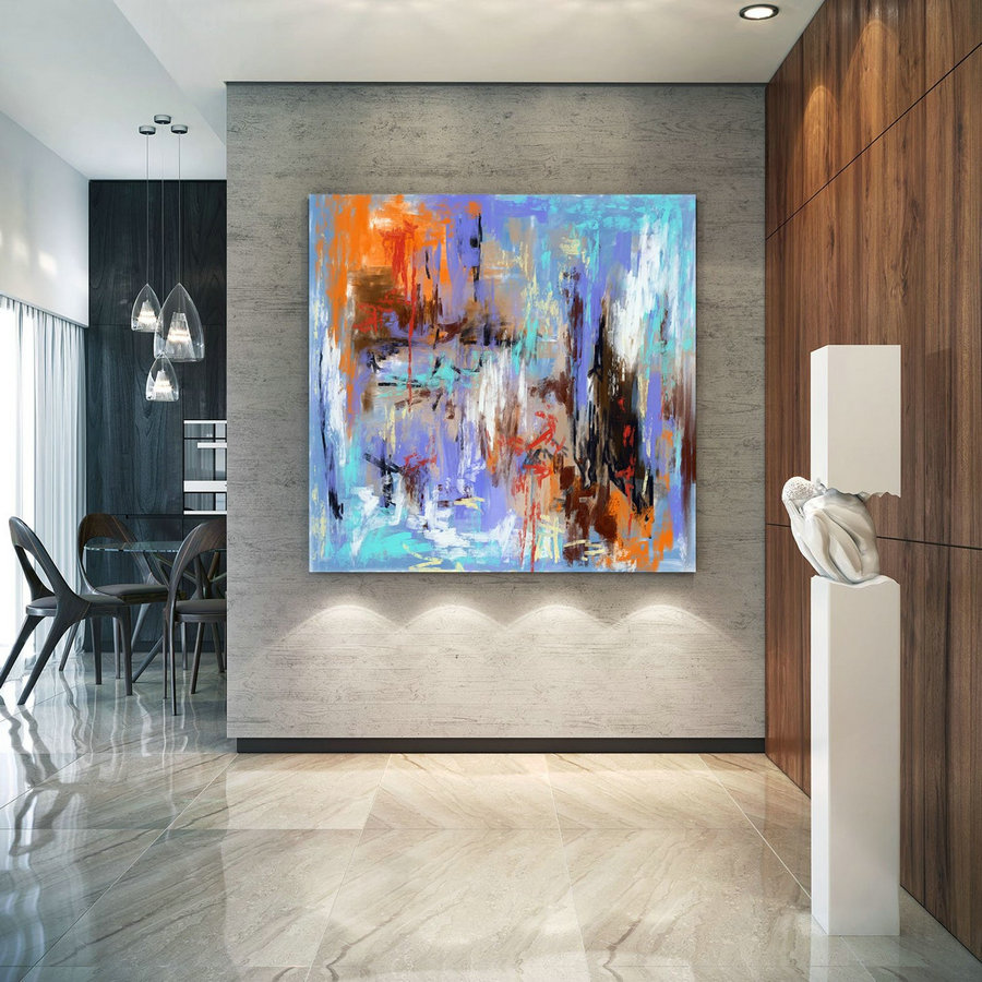 Extra Large Wall Art Palette Knife Artwork Original Painting,Painting on Canvas Modern Wall Decor Contemporary Art, Abstract Painting Pic040