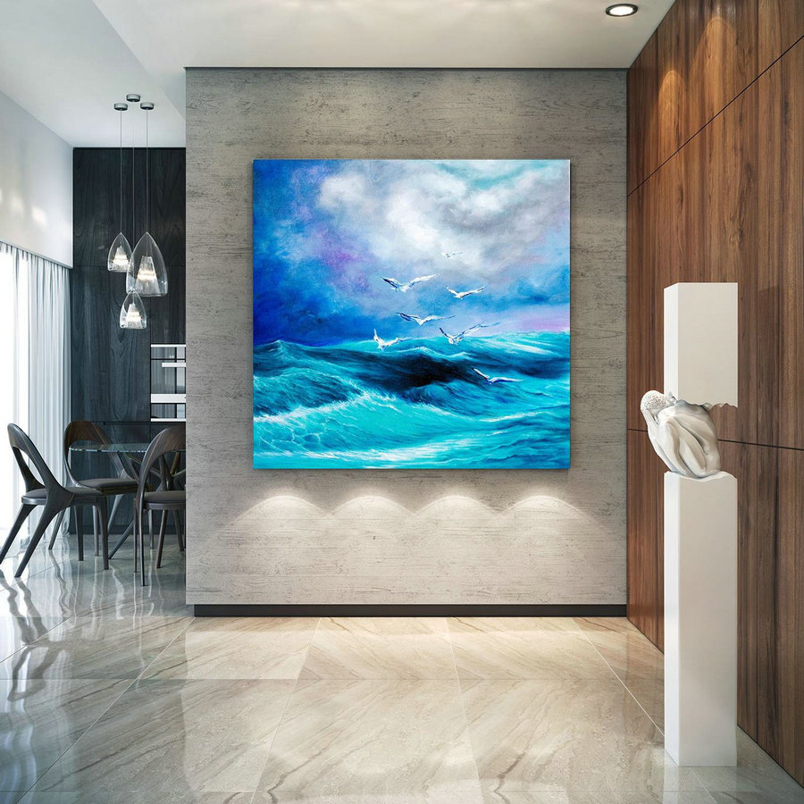 Extra Large Horizon Seascape Wave Painting , Modern Acrylic Painting on Canvas, Original Wall Art, Painting Modern, Large Paintings lac676