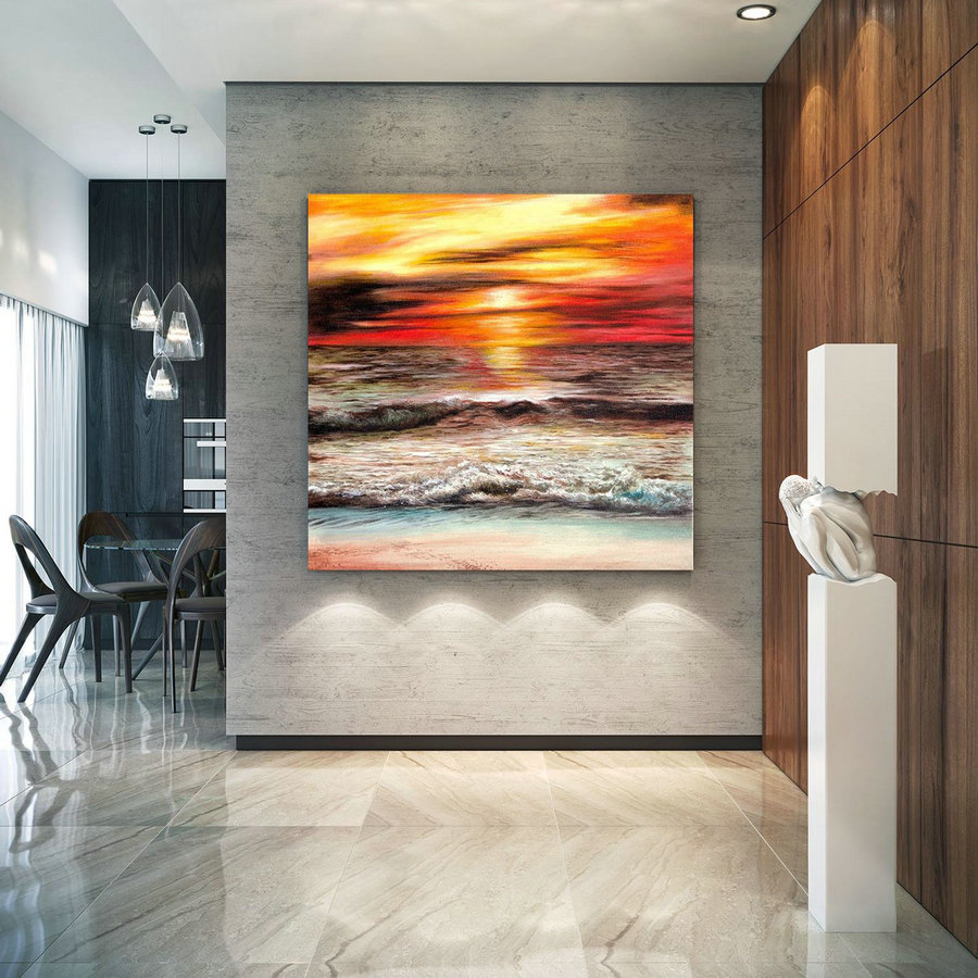 Extra Large Horizon Seascape Wave Painting , Modern Acrylic Painting on Canvas, Original Wall Art, Painting Modern, Large Paintings lac686