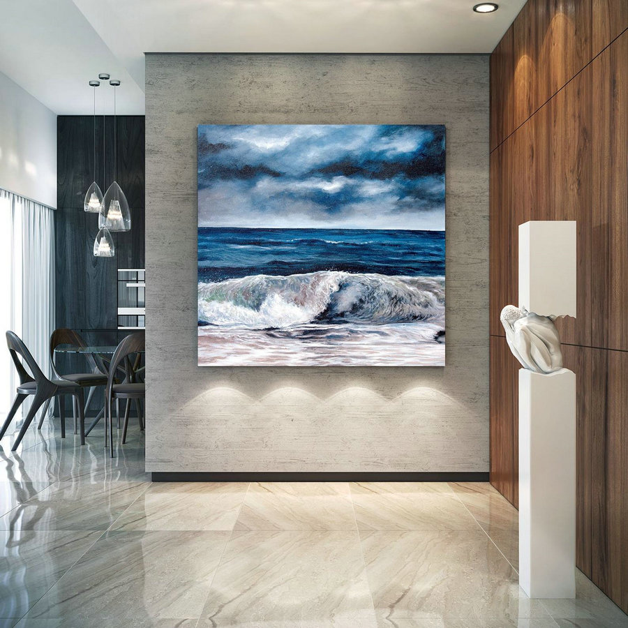 Extra Large Horizon Seascape Wave Painting , Modern Acrylic Painting on Canvas, Original Wall Art, Painting Modern, Large Paintings lac678