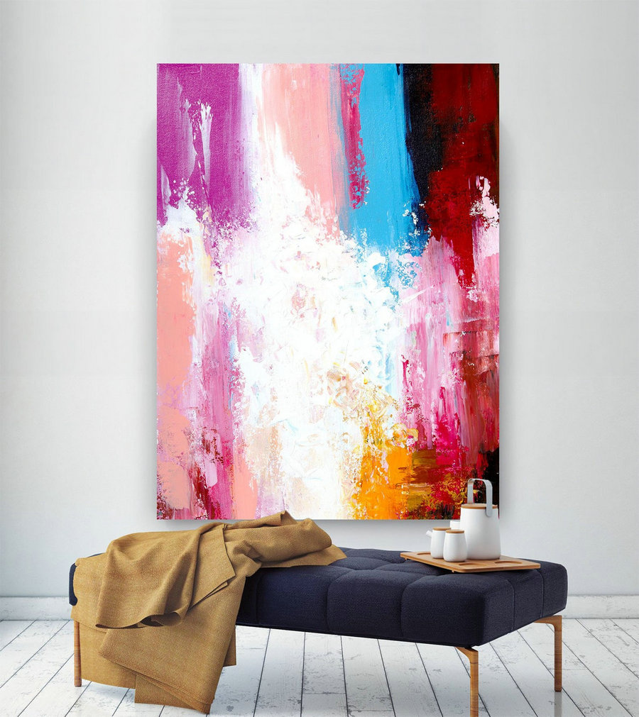 Extra Large Wall Art Original Painting on Canvas Contemporary Wallart Modern Abstract Living Room Wall ArtColorful Abstract Painting laC629