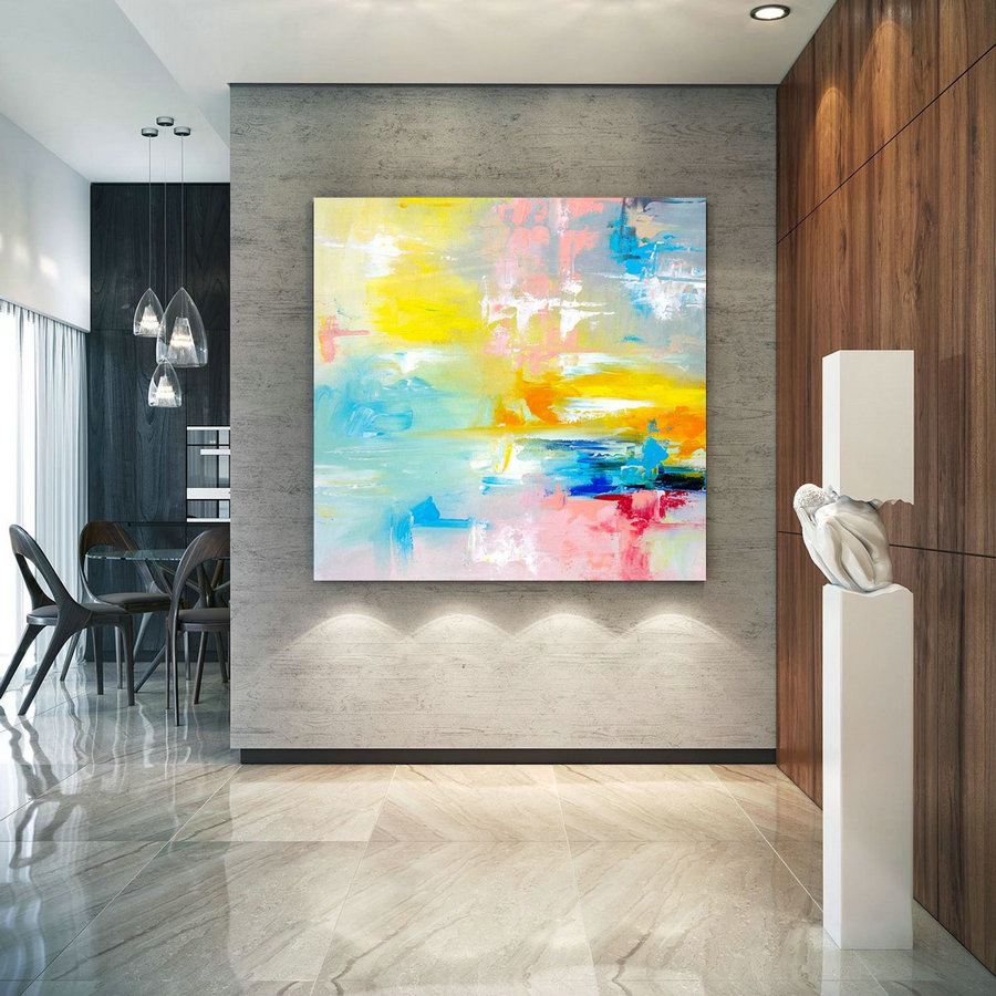 Large Abstract Painting, Original Canvas Art, Contemporary Wall Art, Modern Artwork, Office Wall art, Extra Large Canvas Colorful laC701