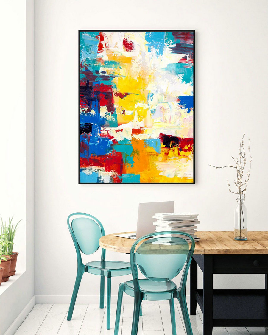 Extra Large Wall Art Original Handpainted Contemporary XL Abstract Painting Horizontal Vertical Huge Size Art Bright and Colorful lac713