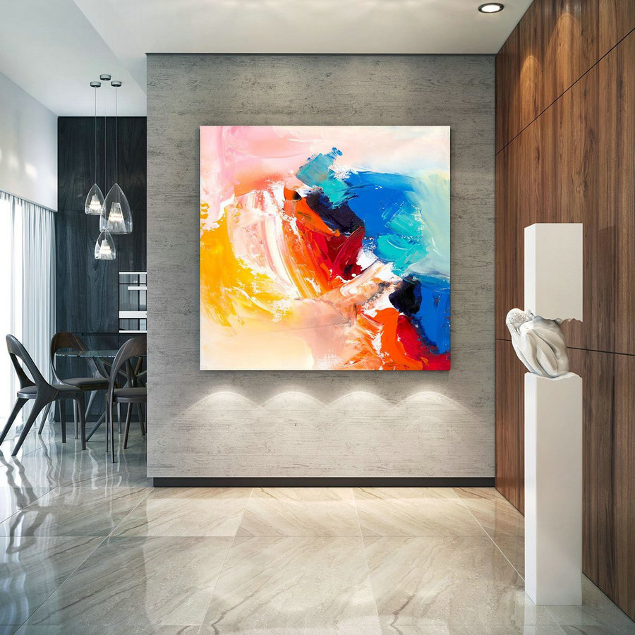 Large Abstract Painting, Original Canvas Art, Contemporary Wall Art, Modern Artwork, Office Wall art, Extra Large Canvas Colorful laC702
