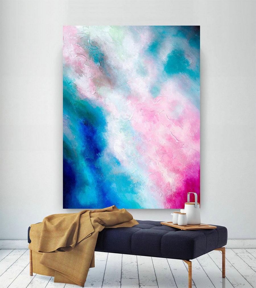 Pink Blue Extra Large Wall Art, Abstract Painting on Canvas Modern Home Decor Office Home Artwork Large Original Contemporary art XL lac690