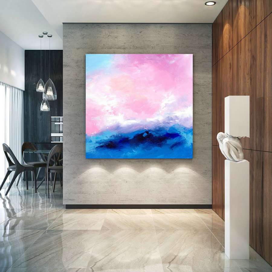 Pink Blue Extra Large Wall Art, Abstract Painting on Canvas Modern Home Decor Office Home Artwork Large Original Contemporary art XL lac685