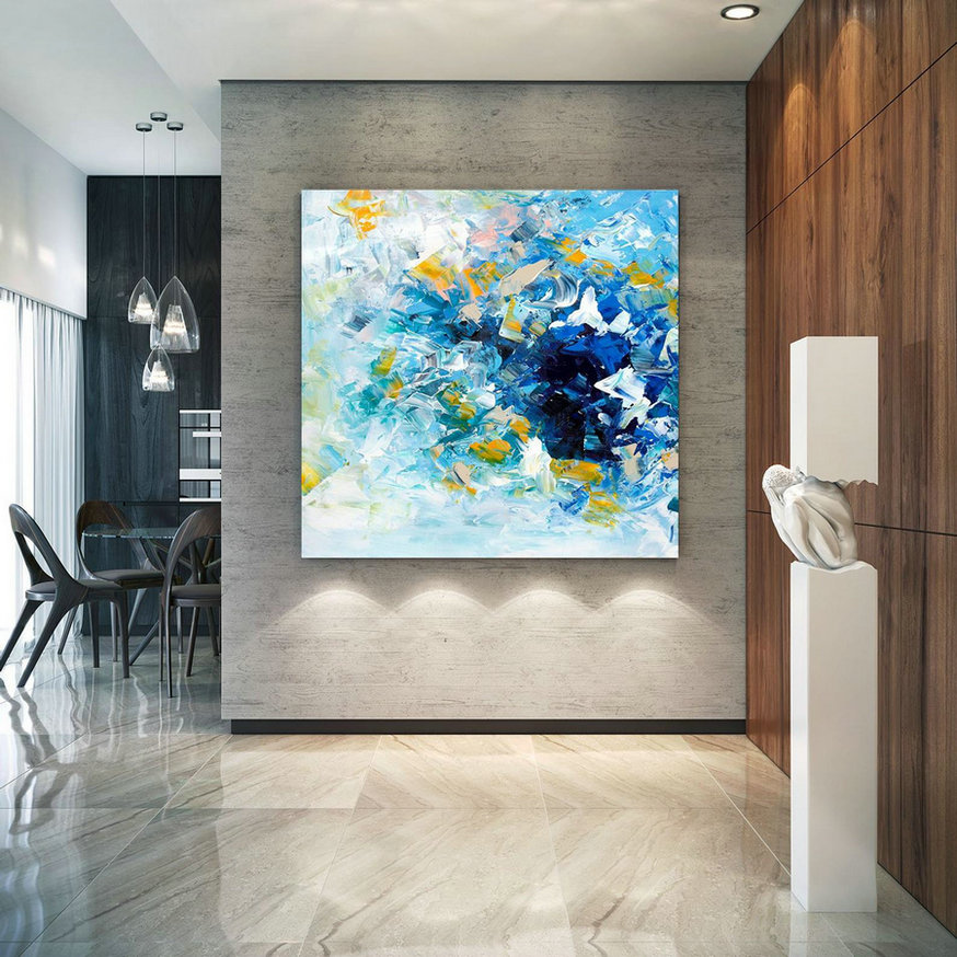 Large Abstract Painting, Original Canvas Art, Contemporary Wall Art, Modern Artwork, Office Wall art, Extra Large Canvas Colorful lac698