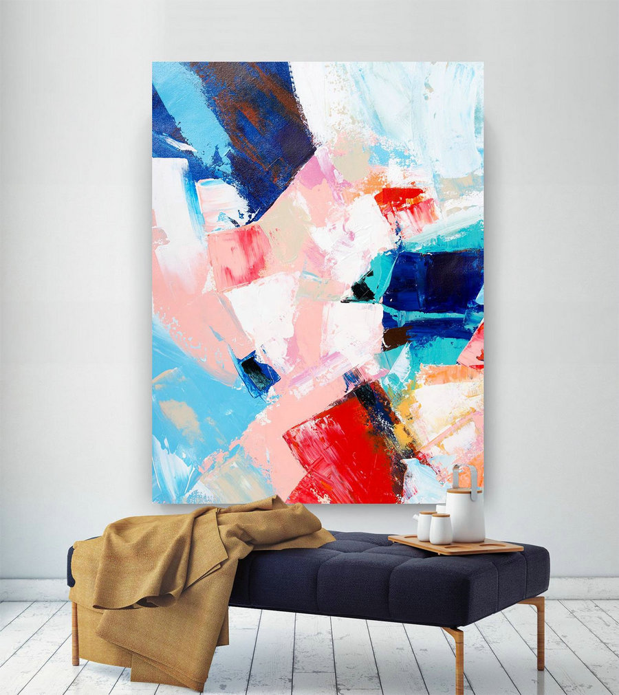 Extra Large Wall Art on Canvas, Original Abstract Paintings , Contemporary Art, Mdoern Living Room Decor ,Office Oversize Artworks lac634