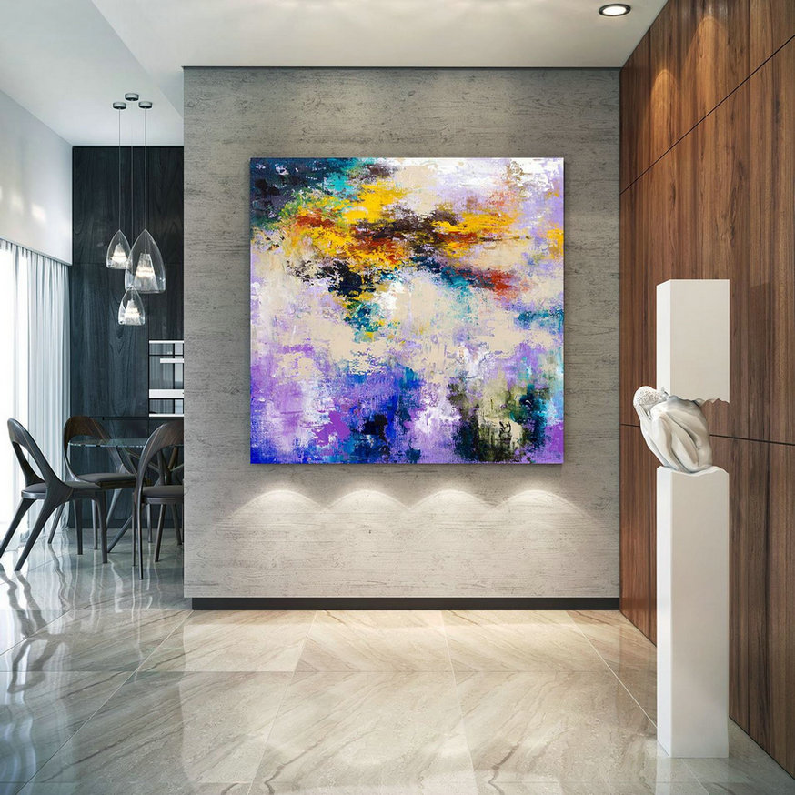 Large Abstract Painting, Original Canvas Art, Contemporary Wall Art, Modern Artwork, Office Wall art, Extra Large Canvas Colorful lac696
