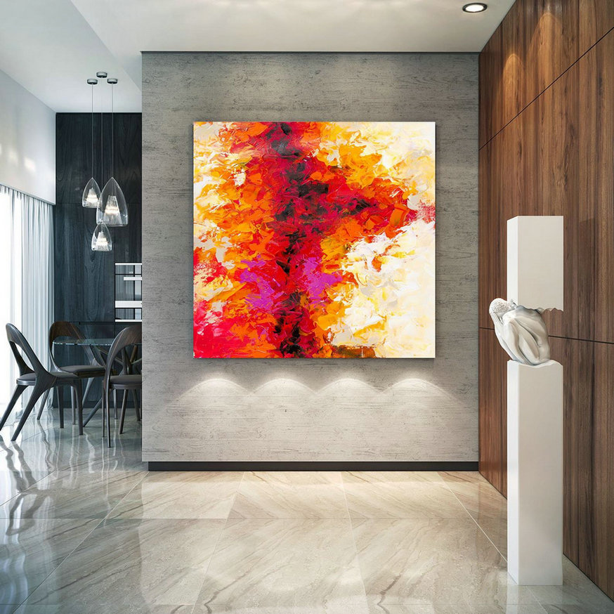 Large Abstract Painting, Original Canvas Art, Contemporary Wall Art, Modern Artwork, Office Wall art, Extra Large Canvas Colorful lac699