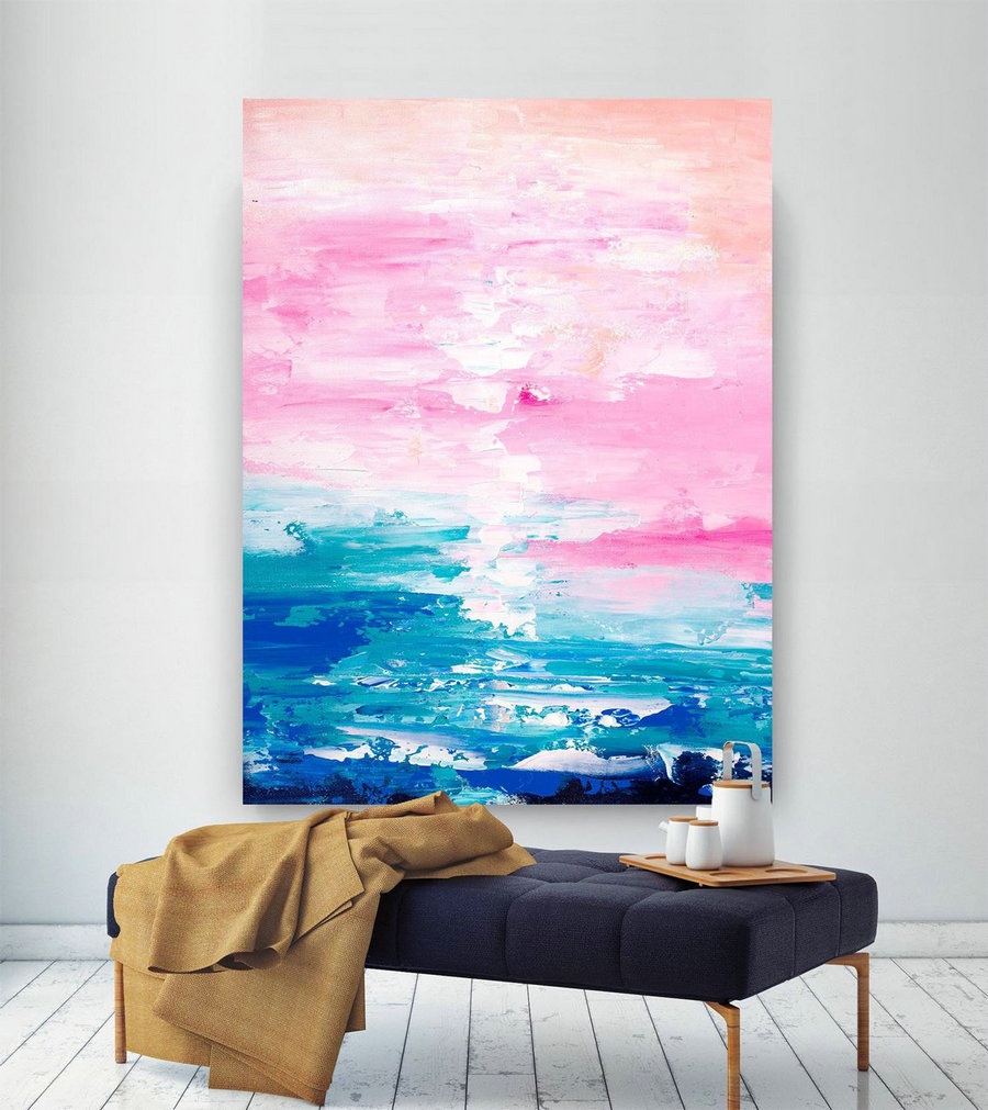 Pink Blue Extra Large Wall Art, Abstract Painting on Canvas Modern Home Decor Office Home Artwork Large Original Contemporary art XL lac683