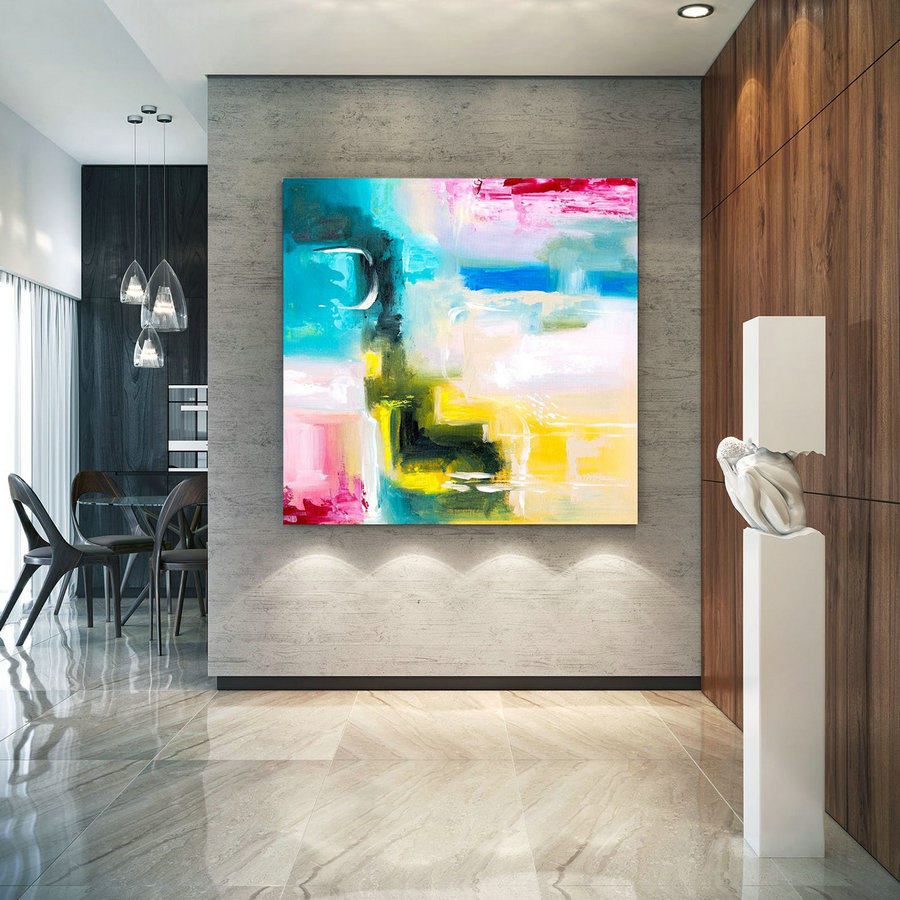 Large Abstract Painting, Original Canvas Art, Contemporary Wall Art, Modern Artwork, Office Wall art, Extra Large Canvas Colorful lac700