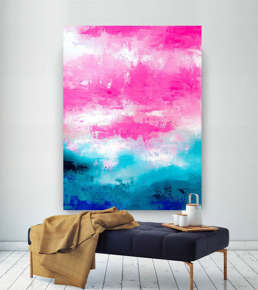 Pink Blue Extra Large Wall Art, Abstract Painting on Canvas Modern Home Decor Office Home Artwork Large Original Contemporary art XL lac691