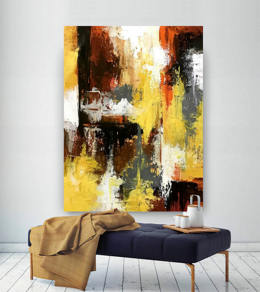 Large Abstract Painting,Large Abstract Painting on Canvas,painting colorful,colorful abstract,above bed decor D2c029