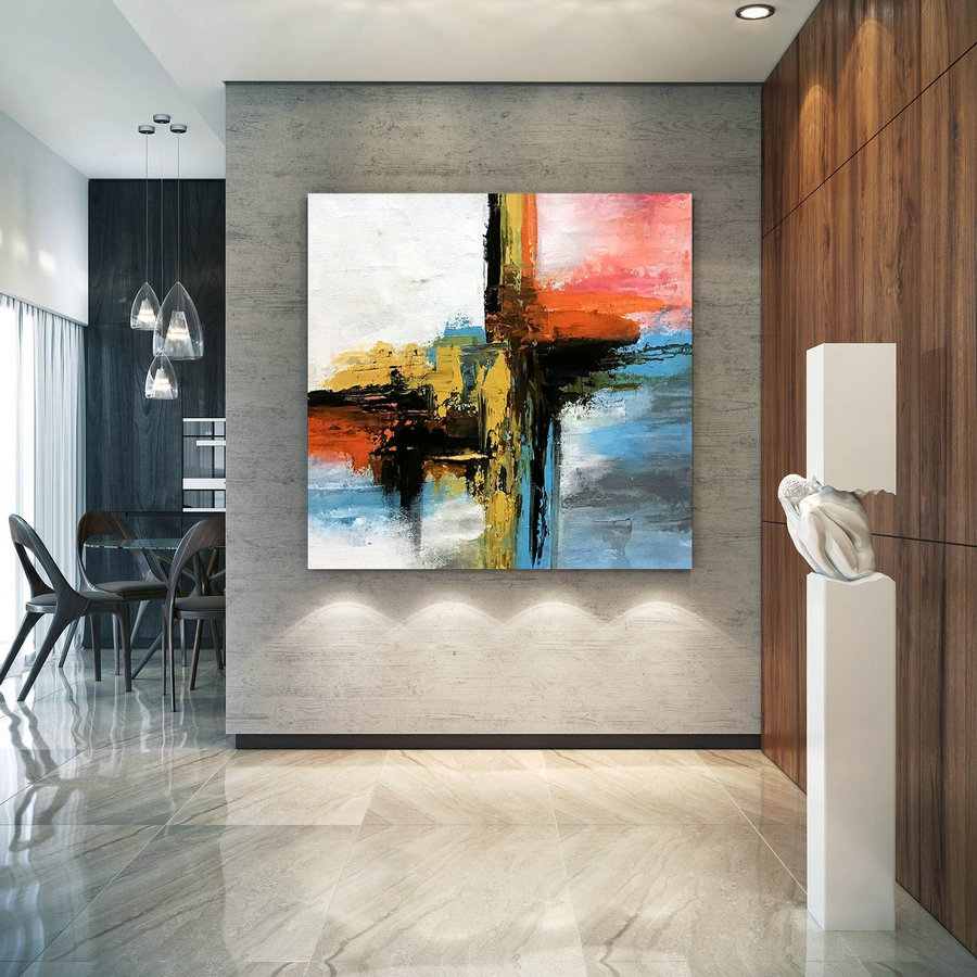 Large Modern Wall Art Painting,Large Abstract Painting on Canvas,painting colorful,modern oil canvas,bathroom wall art D2c022
