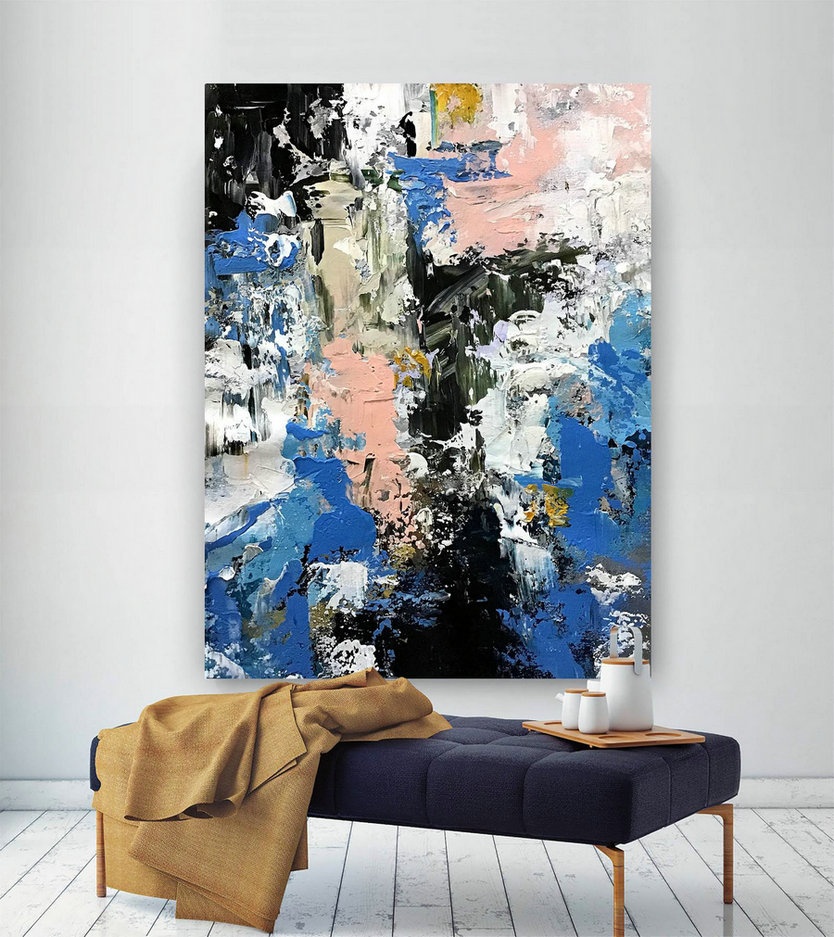 Original Canvas Wall Art - Wall Decor, Large Abstract Painting, Large Artwork, Home Decor, Living Room Decor, Contemporary Art #B2c012
