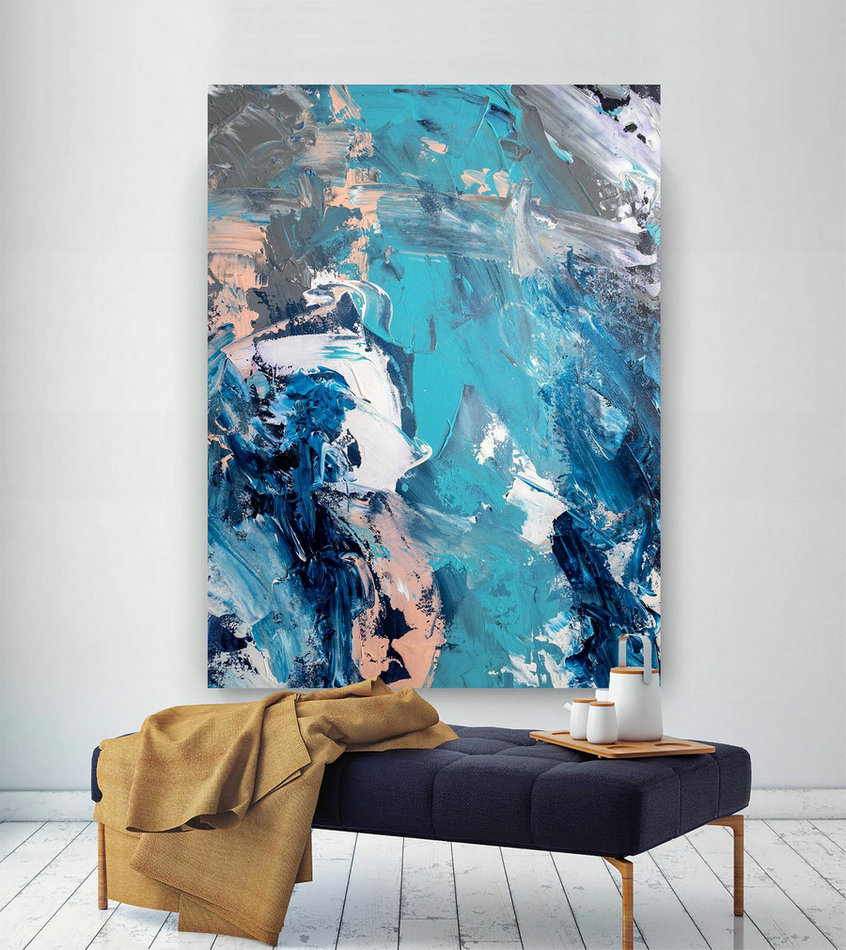 Large Abstract Painting,Modern abstract painting,huge canvas painting,office decor set,abstract decor,textures painting DIc010