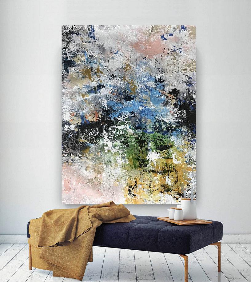 Large Painting on Canvas,Original Painting on Canvas,bright painting art,modern abstract,modern oil canvas,original textured BNc085