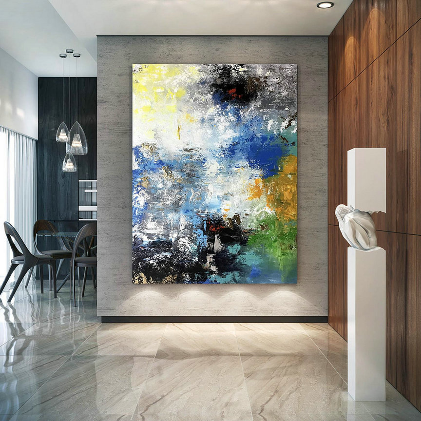 Large Painting on Canvas,Original Painting on Canvas,bright painting art,home decor modern,palette knife canvas BNc083