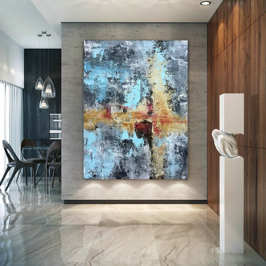 Large Abstract Painting,bright painting art,large vertical art,colorful abstract,modern textured D2c007