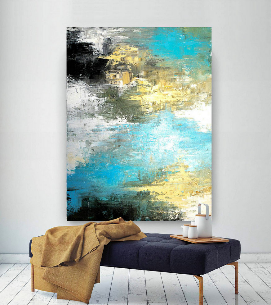 Large Modern Wall Art Painting,Large Abstract Painting on Canvas,painting colorful,modern oil canvas,bathroom wall art DIC022