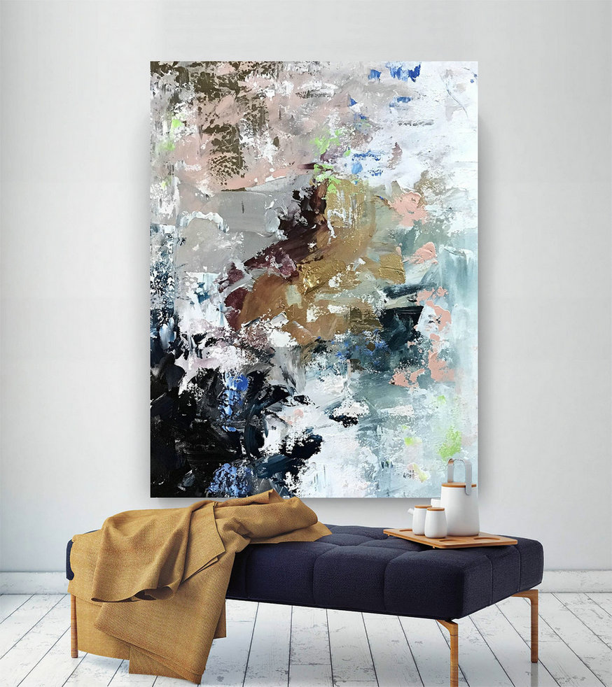 Original Abstract Canvas Art,Large Abstract Canvas Art,huge canvas art,acrylics paintings,xl abstract painting BNc092