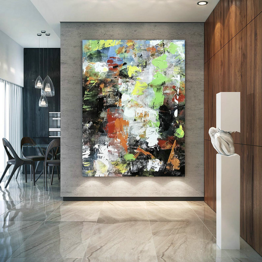 Large Abstract Painting,Modern abstract painting,painting wall art,bathroom wall art,colorful abstract,large textured art BNc091