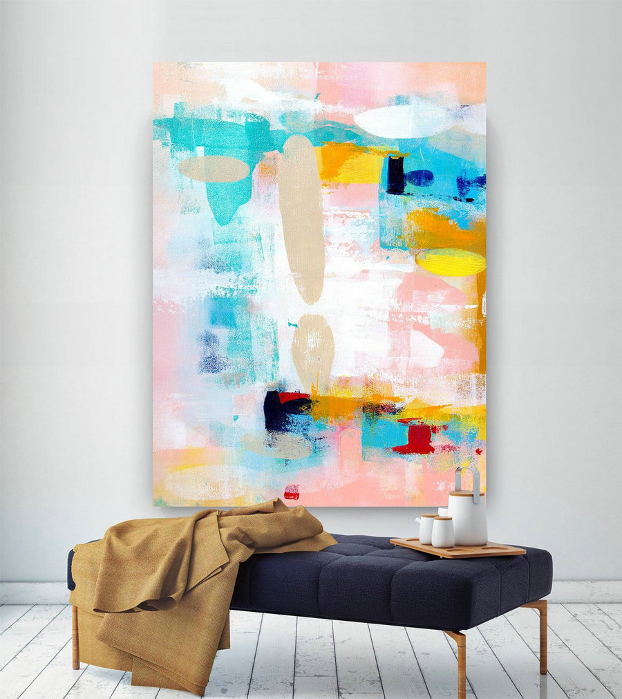Extra Large Wall Art Original Painting on Canvas Contemporary Wallart Modern Abstract Living Room Wall ArtColorful Abstract Painting laC639