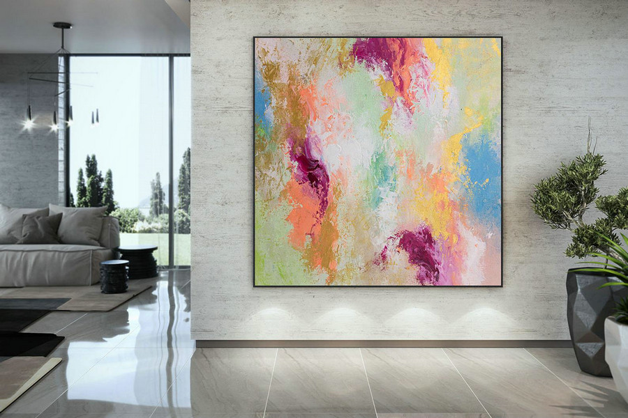 Large Abstract Painting,Large Abstract Painting on Canvas,painting colorful,colorful abstract,above bed decor DMC213