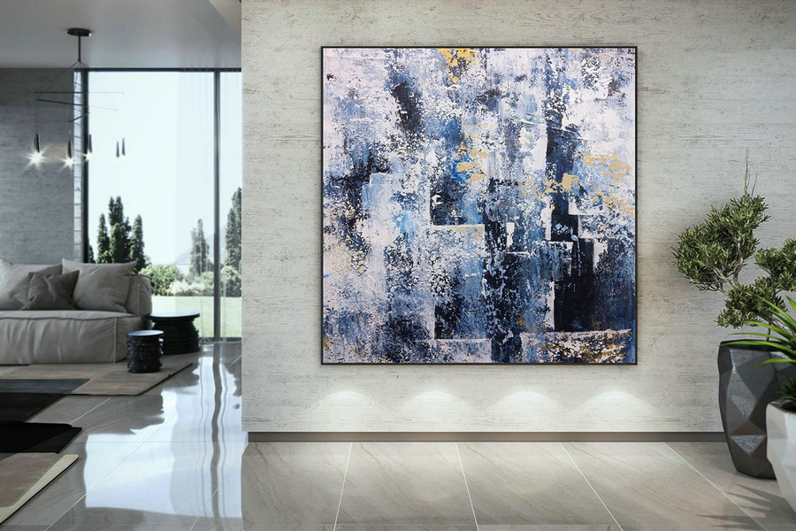 Extra Large Blue Grey White Painting , Modern Acrylic Painting on Canvas, Original Wall Art, Painting Modern, Large Paintings DMC122