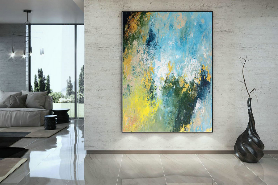 Large Abstract Painting,bright painting art,large vertical art,colorful abstract,modern textured DAc001