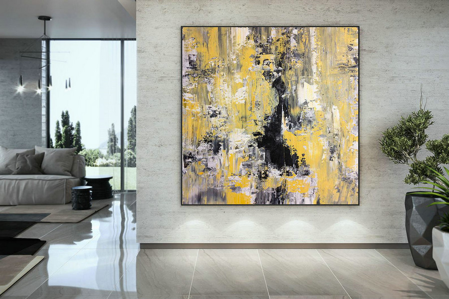 Large Abstract Painting on Canvas,Large Painting on Canvas,painting colorful,gold canvas painting,home decor modern DAC050
