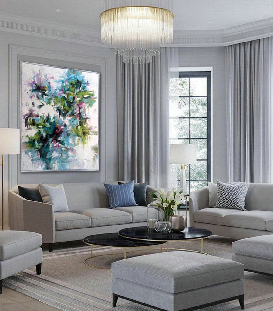 Modern Flower oil painting on Canvas Cozy Colorful Wall Art for Bed Dining Living Room