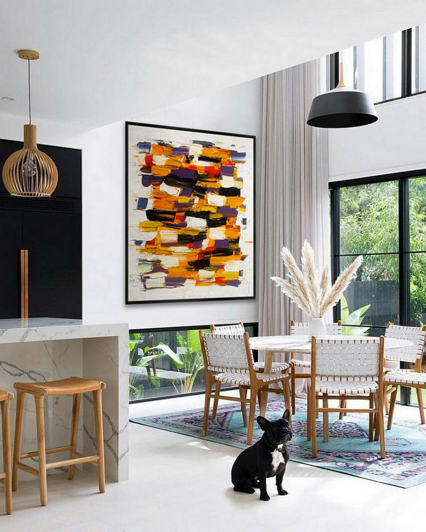 Original Unique Contemporary Modern Wall Abstract Artwork Wall Hand Painted Heavy Textured Palette Knife Vertical Oil painting
