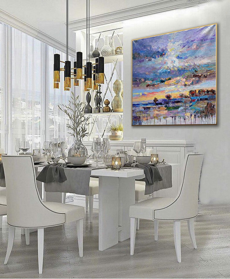 Thick Texture Contemporary Landscape Seascape Hand Painted Modern Palette knife Textured Abstract panoramic Oil painting on canvas wall Art