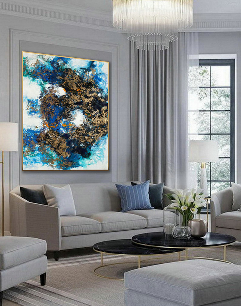 Hand Painted Large Modern Gold Fluid Art Acrylic Abstract Wall Art Painting On Canvas for Dining Living Room Office Decor Art Work