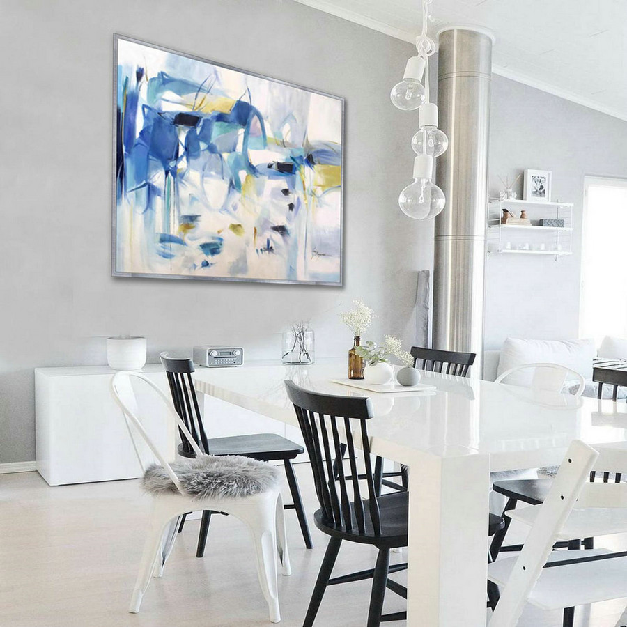 Soft Color Abstract Soft tones Light Color Pastel Feminine Large Modern oil painting Canvas Bed Dining Living Room Office Wall Art